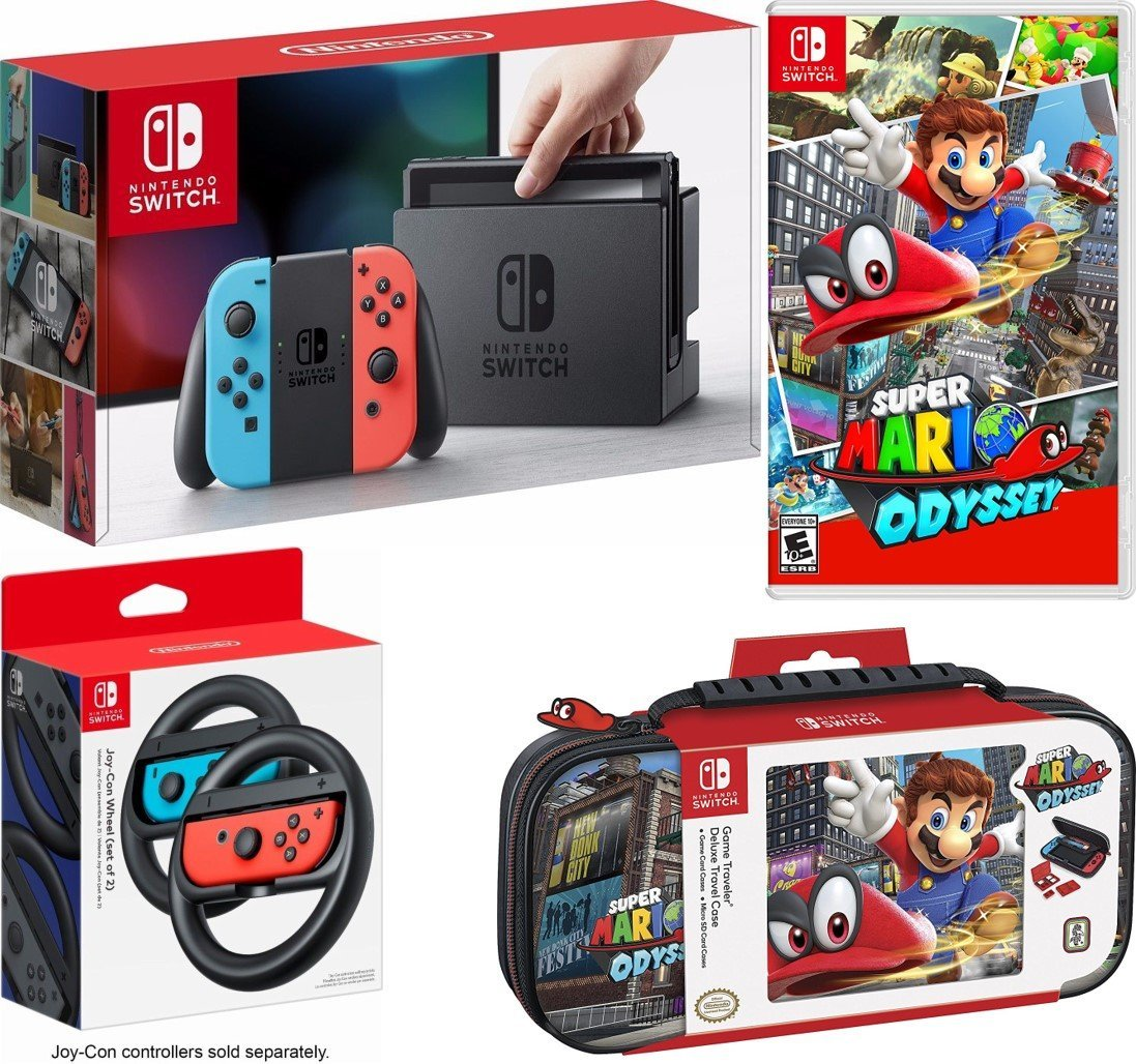 Nintendo Switch With Red Blue Joy Con Bundle Mario Odyssey Travel Case 2 Wheels